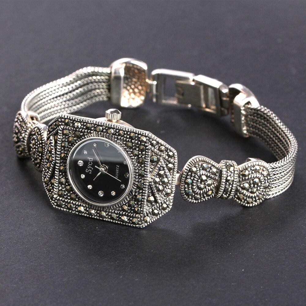 JIASHUNTAI Vintage 100% reloj de plata 925 para mujer Retro 925 reloj de plata de ley para mujer reloj de joyería - 3