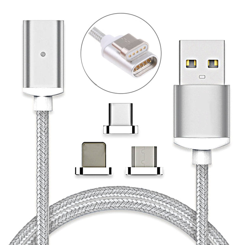 Magnetic Micro USB/Type C/IOS USB-C Fast Charging Charger Data Sync Cable Cord For iPhone X 8 Plus 7 7s Plus 6 6s Plus 5 5s 5c