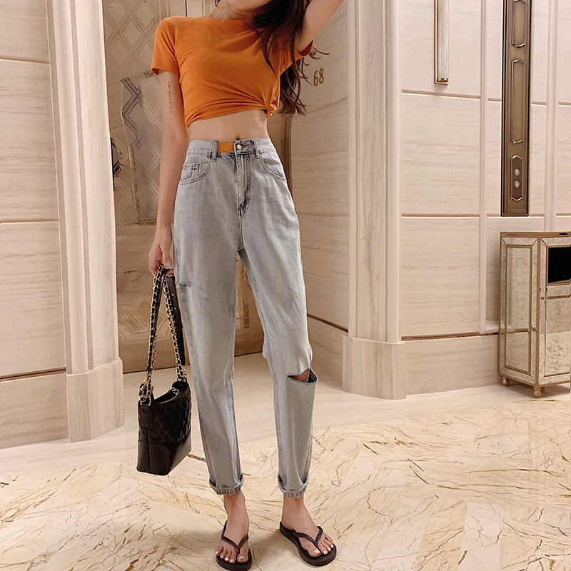 Jeans Summer Korea Washed High Waist Hole Denim Trousers Trend Straight Pants New Solid Color Jeans 2019 Women Jeans Trousers