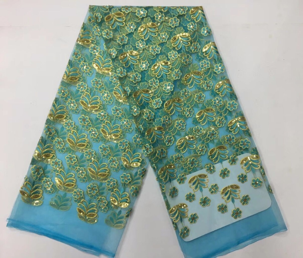 French Net Lace Fabric 2018 Latest african guipure lace fabric with embroidery mesh tulle teal green