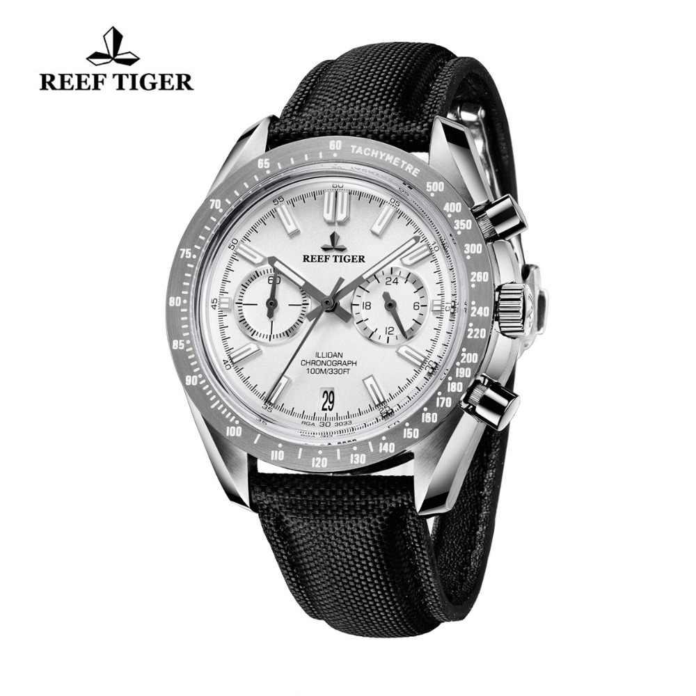 2019 Reef Tiger/RT Mens Designer Sport Watches with Calfskin Nylon Strap 316L Steel Luminous Chronograph Watch RGA3033