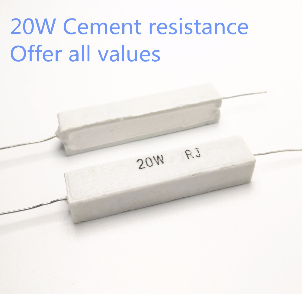 1pcs 20W 0.1 0.22 0.33 0.47 0.5 1 1.2 Ohm 0.1R 0.22R 0.33R 0.47R 0.5R 1R 1.2R Ceramic Cement Power Resistance Resistor 20W 5%