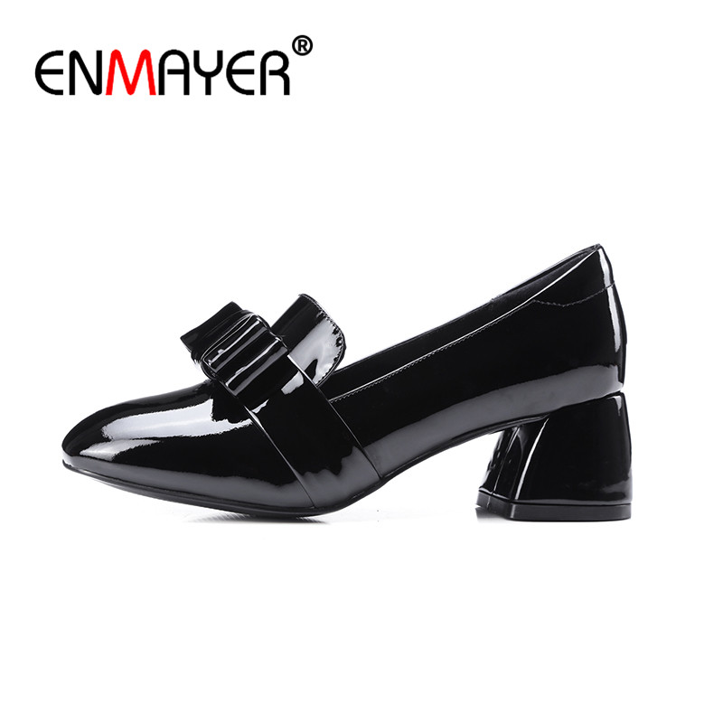 ФОТО ENMAYER Round Toe Sweet High Quality Party Dress Shoes Woman Pumps High Heels Summer Genuine Leather Classic Black Wine red Shoe