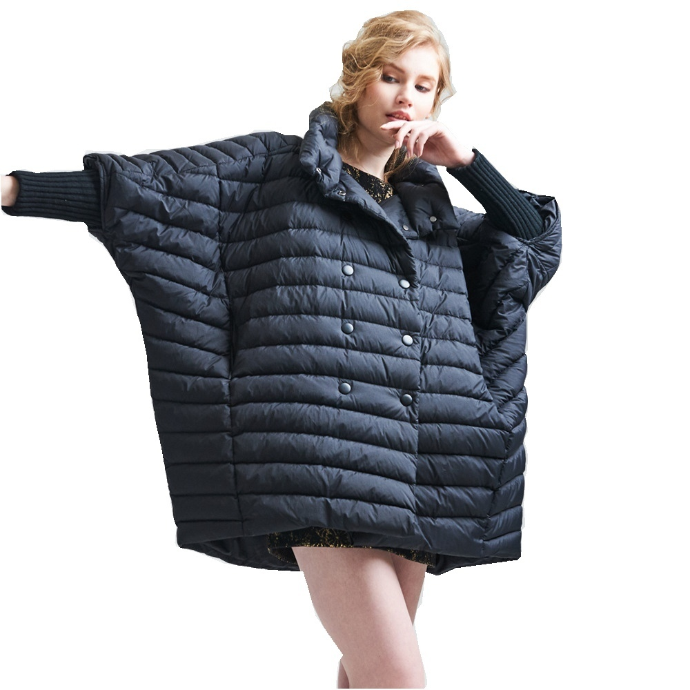 2017 winter new high-end womens cloak down coat womens fashion light down jacket long and loose large size down jackets EF3618