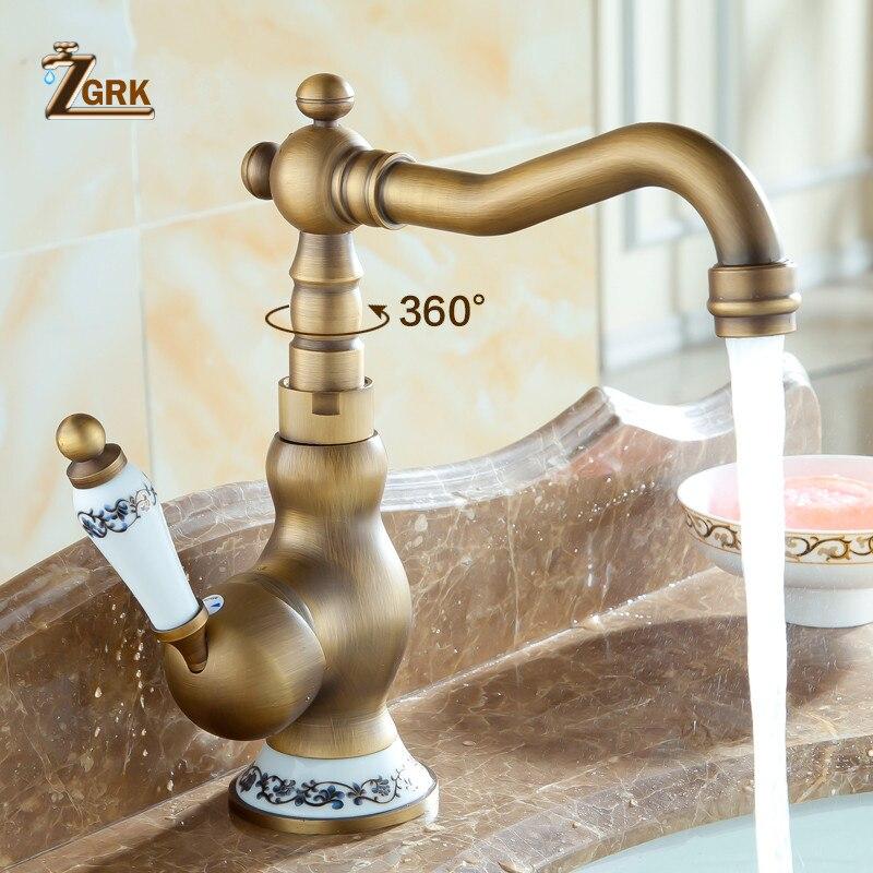 ZGRK vente en gros et au détail pont monté mitigeur de salle de bain évier robinet Antique en laiton eau chaude et froide visage mélangeur robinet