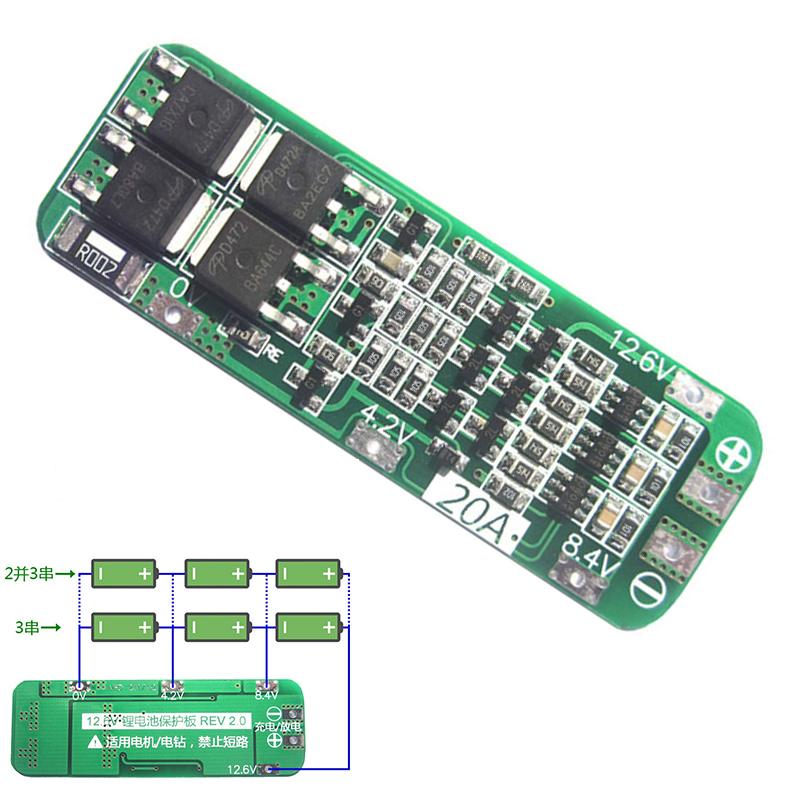 5pcs 3S 20A Li-ion 18650 Lithium Battery Protection Board Lipo Battery Charger Protect PCB Cell Module For Drill Motor