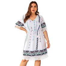 Summer Big Size Dresses for Women Super Casual Bohemian Loose Tassel Dress Ladies Oversized Plump Girl Elegant