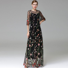 Luxury New Arrival 2017 Summer Women's O Neck 3/4 Flare Sleeves Embroidery Floral Party Long Runway Dresses with Inner 2 Colors