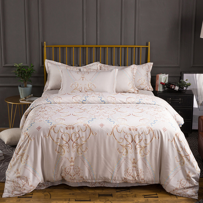New Tencel Silky Smooth European classic Bedding Set Cool Refreshing Duvet cover set Bed sheet Pillowcases Queen King size 4PcsNew Tencel Silky Smooth European classic Bedding Set Cool Refreshing Duvet cover set Bed sheet Pillowcases Queen King size 4Pcs