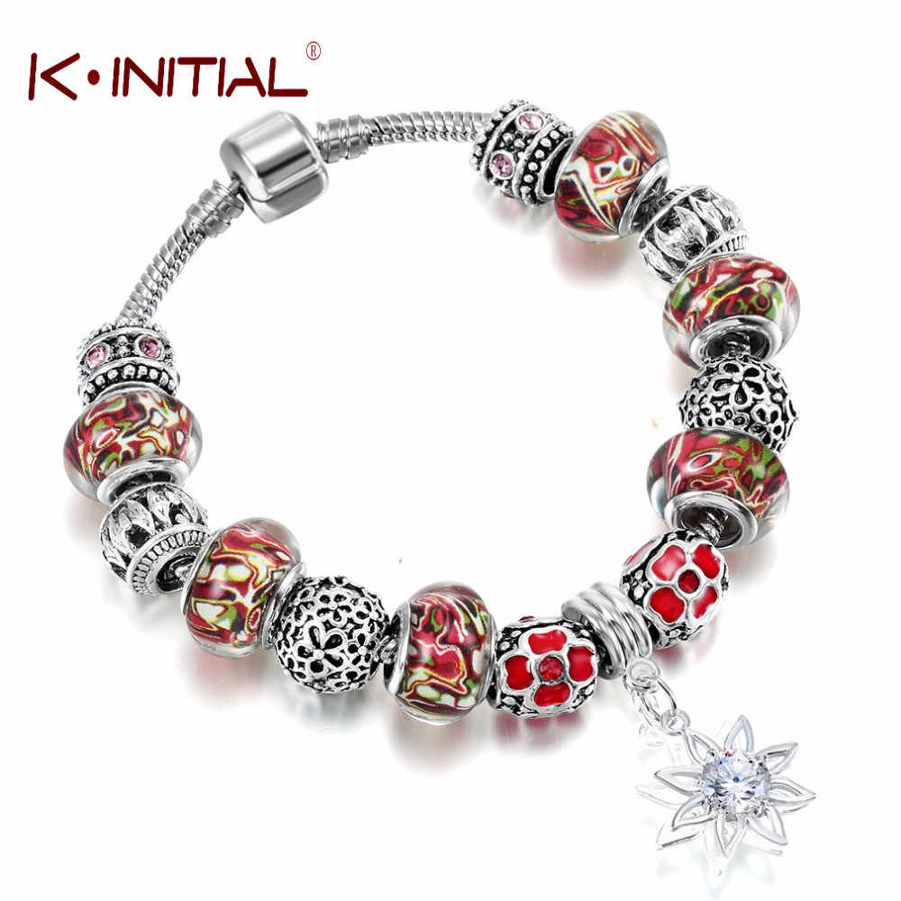 Kinitial 1Pcs Flower Bat Murano Glass Charms Bead Bracelets & Bangles Jewelry Wholesale fit Bracelet Women Style Fashion Bijoux