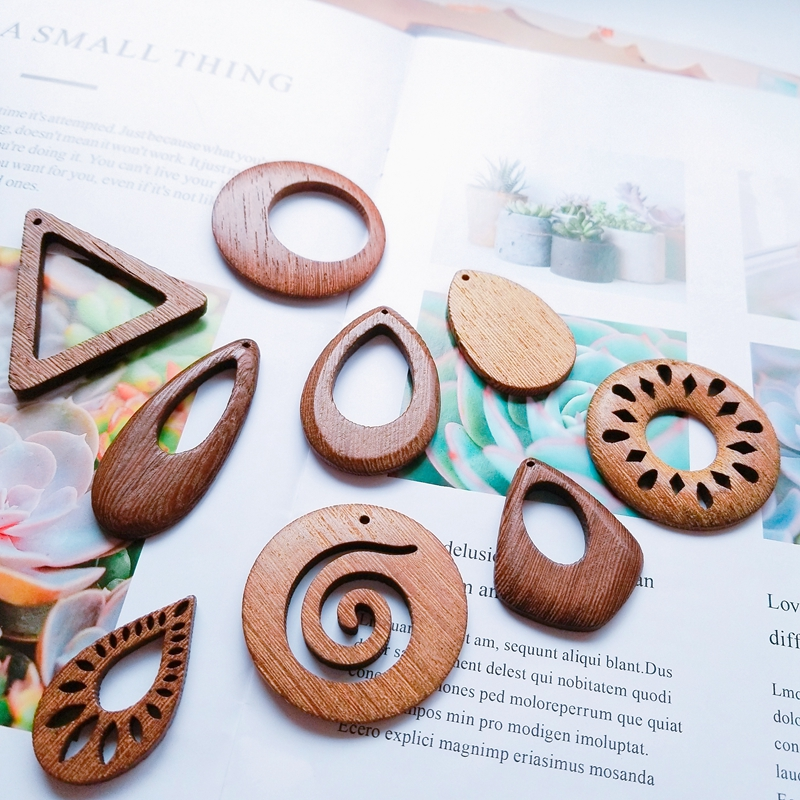 Diy jewelry accessories natural wood geometric texture retro brown drop-shaped circular triangle handmade earrings pendants