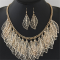 Luxury Bib Bohemian Statement Leaves Long Maxi Tassel Wholesale Sliver Gold Necklace Earrings  Jewelry Sets Women 2017 Fashion