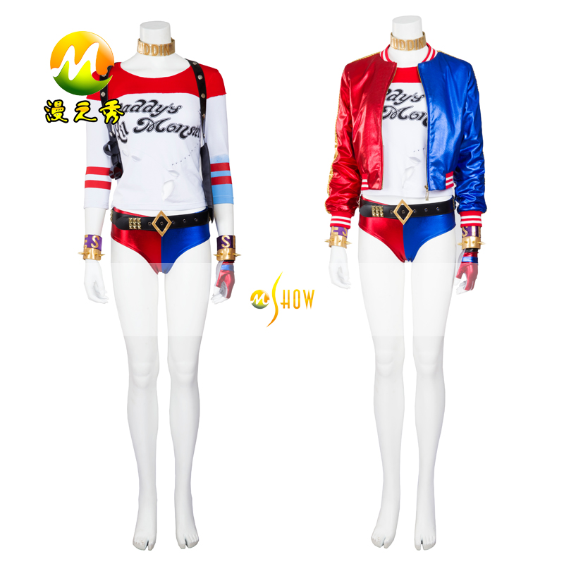 Suicide Squad Halloween Carnaval Uniform Costumes Harley Quinn Clown Cosplay Leisure Coat for Women/Girls