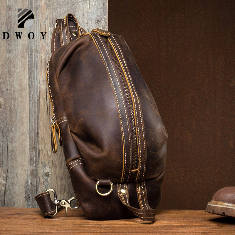 DWOY Genuine Leather Men Bag male chest bag travel shoulder Man Crossbody Bags Men Messenger Bags Phone Sling Chest PackDWOY Genuine Leather Men Bag male chest bag travel shoulder Man Crossbody Bags Men Messenger Bags Phone Sling Chest Pack