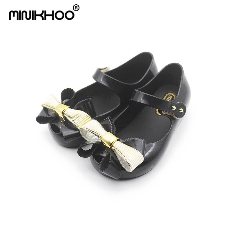Mini Melissa Bowtie Girls Jelly Bow Sandals 2018 New Melissa Sandals Toddler Beach Shoes 15-18cm Non-slip Baby Sandals 3 Color