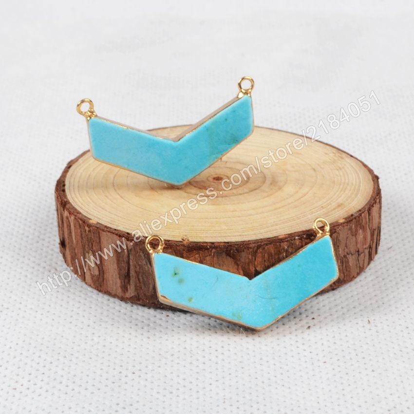 Boomerang Shape Blue Howlite Turquoise Gold Plated Necklace Connector Beads Double Bails Making Jewelry G0868
