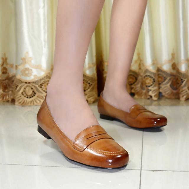 Italy Women S Flat Shoes Genuine Leather Round Toe For Office Las Pure 8089 G8