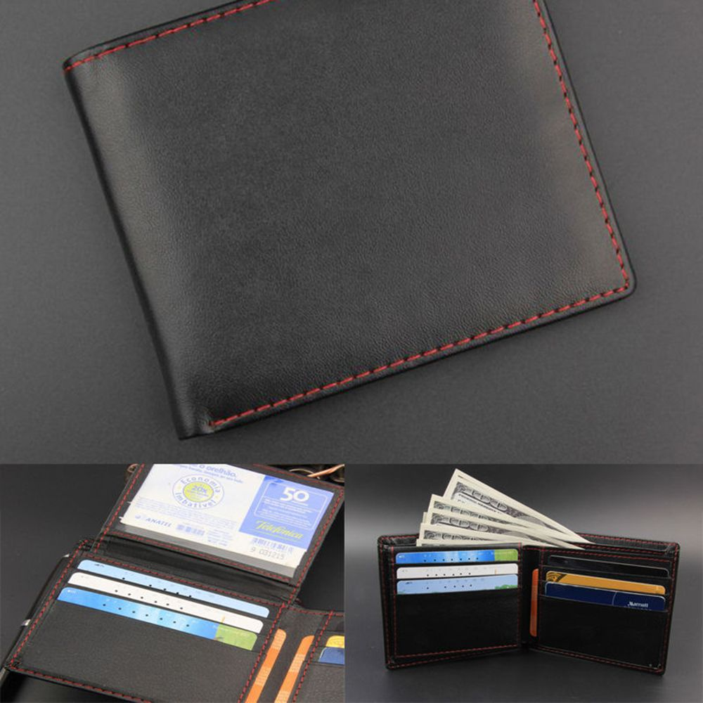 Men/'s Leather Wallet ID Bifold man black Leather Purse Wallet Card holder gift