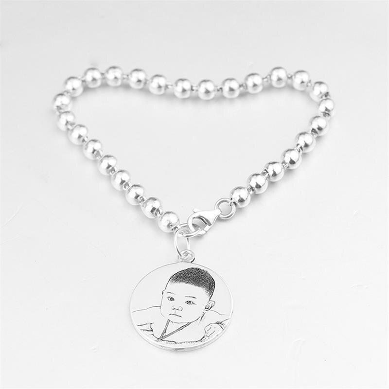 Bricolage personnalisé S925 pendentif en argent Sterling Photo ombre sculpture Bracelet pour enfants bijoux pour enfants cadeau d'anniversaire de bébé