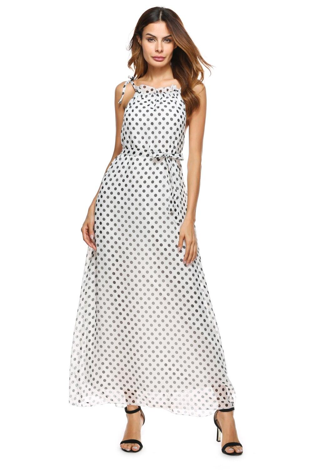 Dress up diary baju pelaut - Musim Panas Gaya Fashion Tinggi Gaun Putih New Fashion Desain Manis Lucu Polka Dot Pola Dicetak