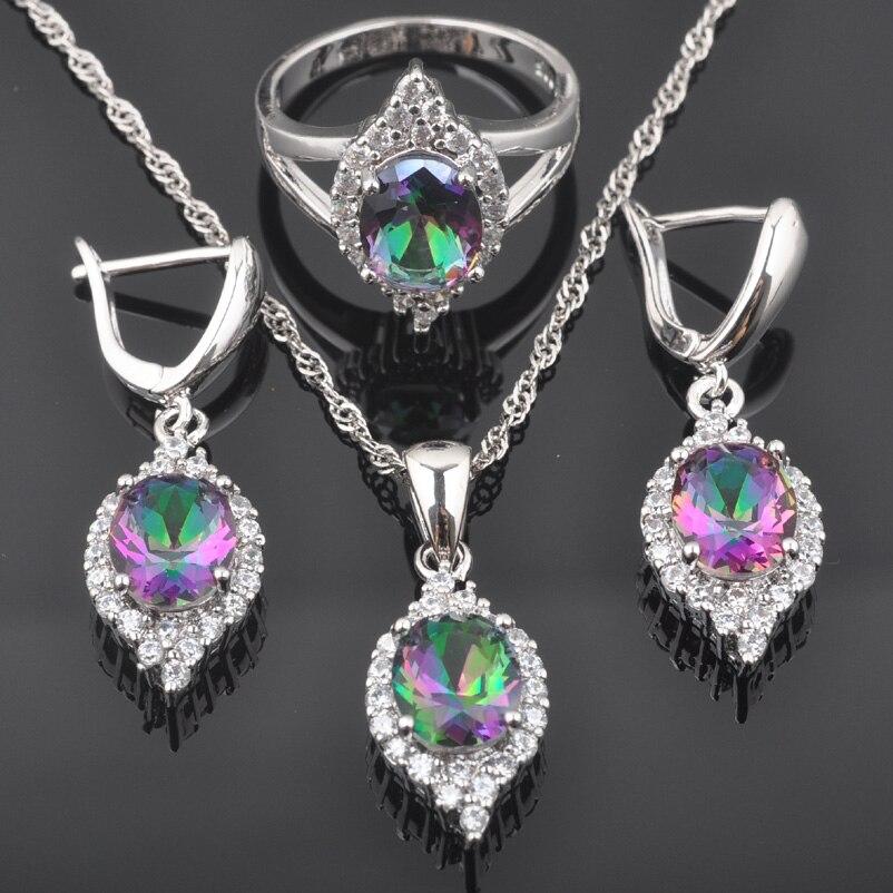 Brautschmuck Sets Fahoyo Mode Multicolor Regenbogen Zirkonia Frauen 925 Sterling Silber Schmuck Sets Ohrringe/anhänger/halskette/ringe Qz0511