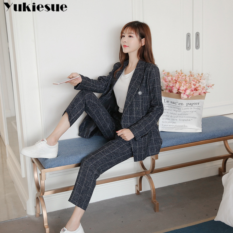 New fashion Formal Suits for Women Casual Office Business Suitspants Work Wear Sets Uniform Styles Elegant Plaid Pant Suits