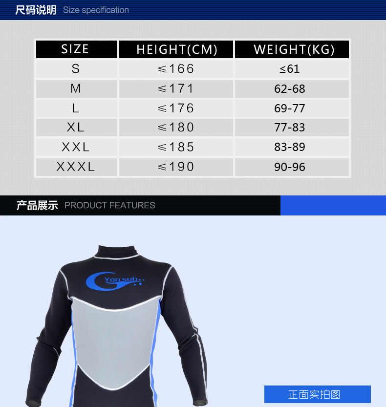 YonSub 3MM Neopreen Duiken Pak Wetsuit Surf Onderwatervissers Een Stuk en Close Body Duikpak voor Mannen onderwater Jacht