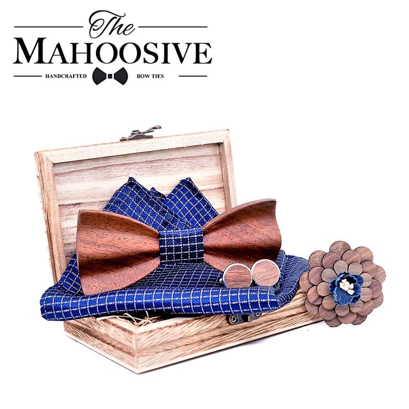 3D Black Walnut Wooden Bowtie For Mens Wedding Papillon Corbatas Printed Wood Bow Tie Handkerchief Set For Mens Suit Butterfly
