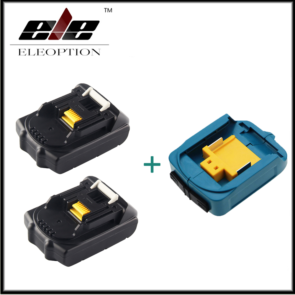 2x Eleoption 18V 2000mAh Li-ion Replacement Battery For MAKITA 194205-3 194309-1 BL1815 + USB Power Charger Adapter For Makita eleoption 2pcs 18v 3000mah li ion power tools battery for hitachi drill bcl1815 bcl1830 ebm1830 327730