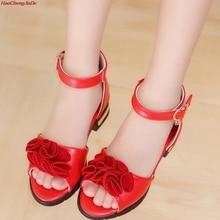 HaoChengJiaDe Children Pink Flowers PU Leather Sandals Orthopedic Shoes Kids Gir