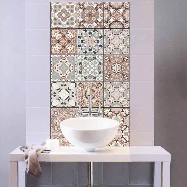 Arabian Style Pattern Retro Tile Sticker Pvc Bathroom