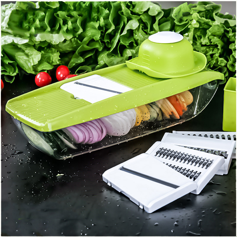 Nuovo Mandoline Slicer Vegetable Cutter con 5 Lame Manuale Della Patata Carota Grattugia per Verdure Cipolla Affettatrice Cucina Accessori