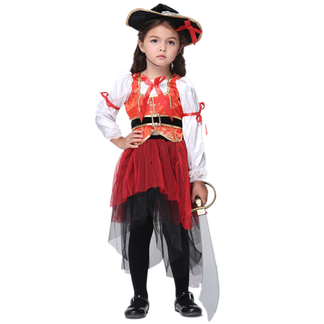 4ae177549c4 US $25.61 5% OFF Girls Princess Sea Pirate Costume Kids Halloween Costumes  for Girls Pirate Costume Ideas-in Girls Costumes from Novelty & Special Use  ...