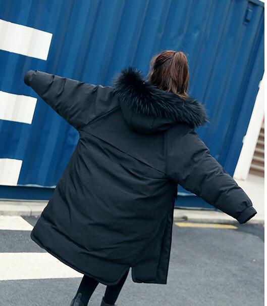 Colour black Parkas La Col B759 Grand Femmes Solide Capot Plus Dames Fermeture D'hiver Fourrure Couleur De Veste Whit Mode Chaud Taille 2018 caramel Longue Épaississent Éclair Outwear wxCASwFq