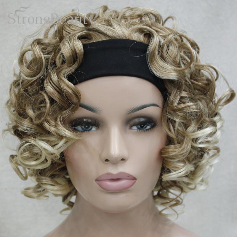 strongbeauty женщин коротких синтетических блондинка/коричневый фигурные парики 3/4 половина парик с оголовьем для леди африки amrican чернокожих женщин