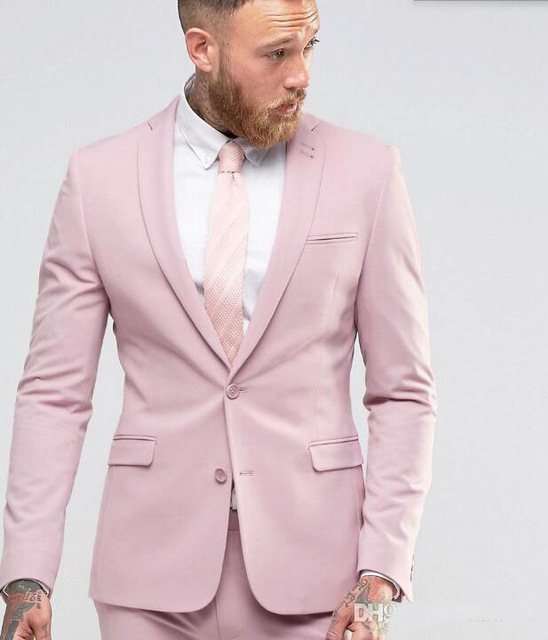 Latest Coat Pant Designs Light Pink Formal Custom Beach Wedding Suits For Men Bridegroom Slim Fit 2 Pieces Jacket+Pants 394