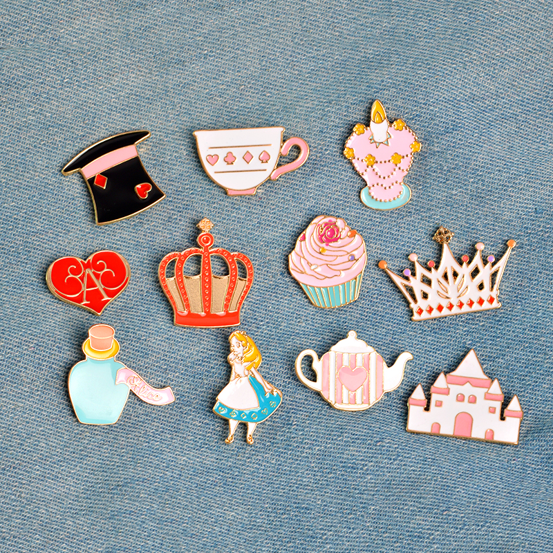 14 pcs/set Fairy Alice Hat Cake Castle Heart Crown Candle Syrup Rabbit Clock Cat Kitten Brooch Button Pins Jacket Badge Jewelry cake brooch