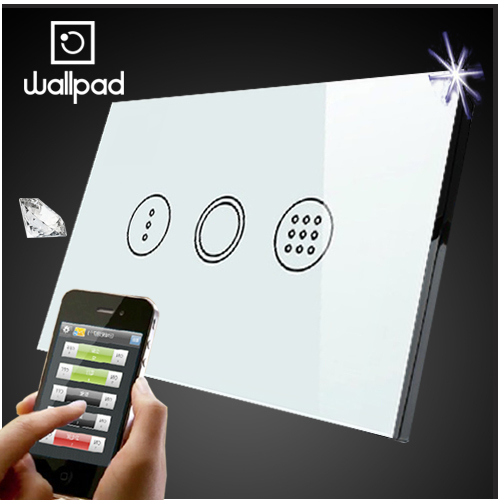 Wallpad 118 US AU Crystal Glass White Wireless Remote control wall Timmer touch switch,Wifi Time Delay Switch,Free Shipping