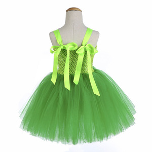 Image 4 - Green Santa Flower Fairy Princess Party Dresses for Little Girls Role Play Tutu Dress with Fairy Magic Wand Wing Headwear 1 12Y
