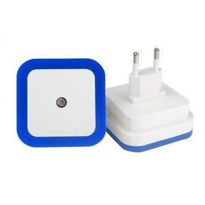 """Image 2 - מיני LED 0.5W לילה אור שליטה אוטומטי חיישן תינוק שינה מנורת כיכר לבן צהוב AC110 220V LED לילה אור עבור תינוק ארה""""ב האיחוד האירופי"""
