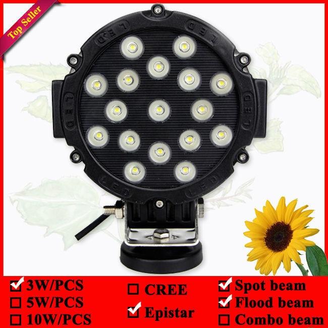 7-palčna okrogla 51W črna vozna luč za tovornjak 4wd 4x4 suv atv - Avtomobilske luči - Fotografija 6
