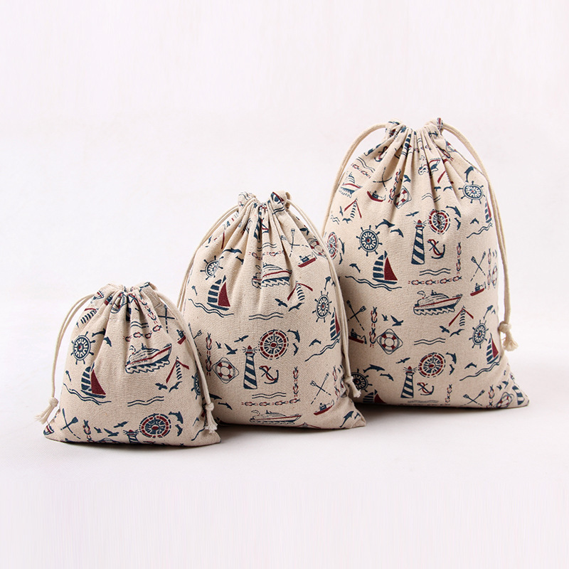 sailboat New Cotton Linen Gift Bag Travel Drawstring Storage Bags Sundries Small Beam Rope Pouches Handmade Candy Bag