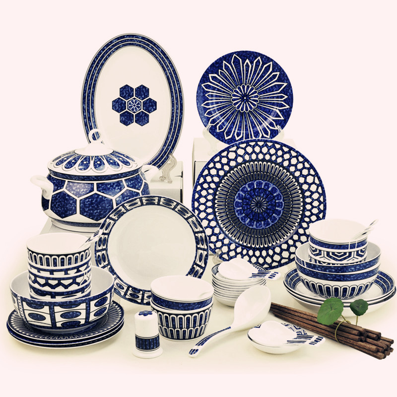 luxury dinnerware set ceram bone china top quality 48pcs luxury Jingdezhen tableware dishes set plates bowls