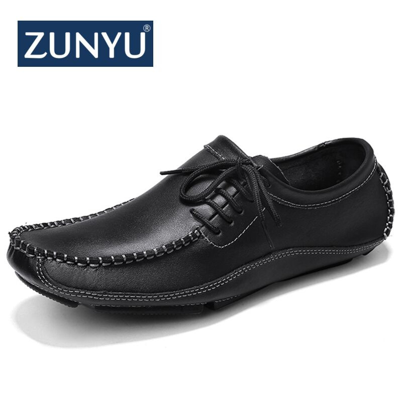 цена на New big size 38-47 Cow Leather Men Loafers Fashion Handmade Casual Shoes Men Moccasins For Men Leather Flat Shoes ZUNYU Brand