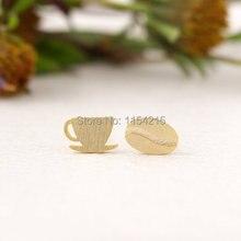 2016 новинка золото-серебро-розовое чашки кофе и фасоли серьги идея подарка крошечный небольшой bk и jio серьги EY-E040
