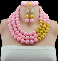 Gold color African Wedding Bridal Jewelry Set Pink Dubai Wedding Beads African Beads Jewelry Set Women Fashion Free Shipping