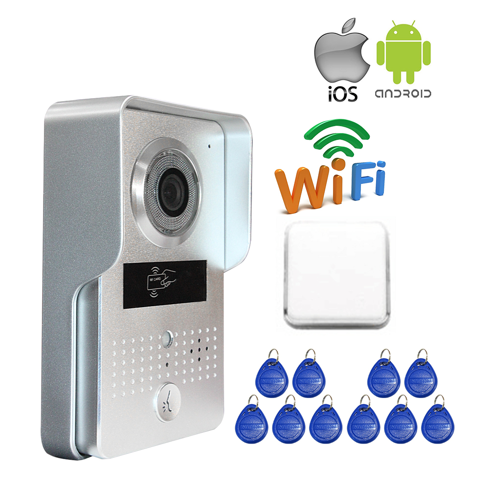 Free Shipping Wireless Wifi IP Doorbell Outdoor Camera for Android IOS Smartphone + RFID Access Video Intercom + Wireless Bell free shipping outdoor rfid access wireless wifi doorbell camera video intercom for smartphone remote view unlock strike lock