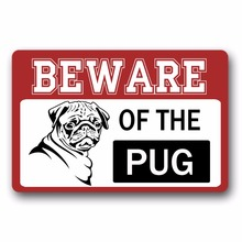 Entrance Floor Mat Non-slip Doormat Beware Of The Pug Door Outdoor Indoor Rubber Non-woven Fabric Top 15.7x23.6 Inch