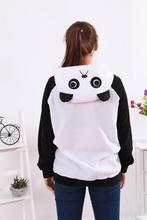 Warm winter Costumes Halloween Warm Cartoon Women's Panda Ear Tail Zip up Hoodie Sweatshirt Jacket Outerwear