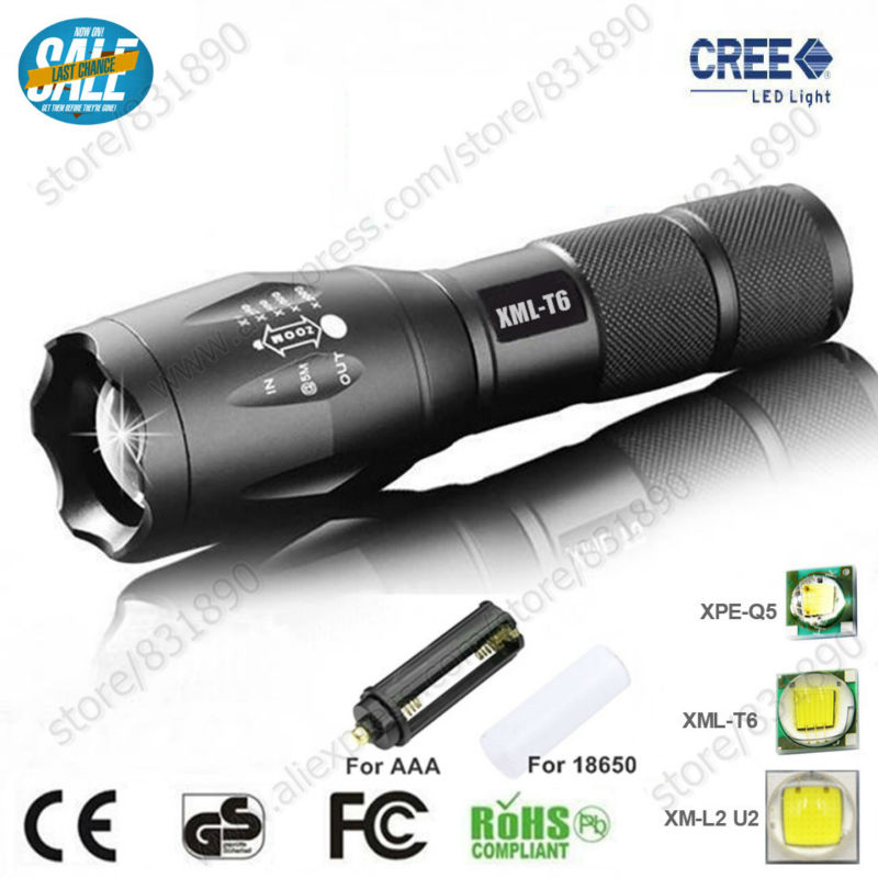 Hot 5 Modes LED Flashlight&Torches XM-L T6 L2 Q5 3800LM Aluminum Waterproof Zoomable lig ...